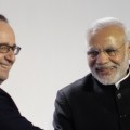 President Hollande and Prime Minister Modi at the launch of the International Solar Alliance.