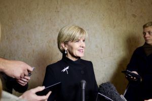 Foreign Affairs Minister Julie Bishop talks to the media during COP21 in Paris.
